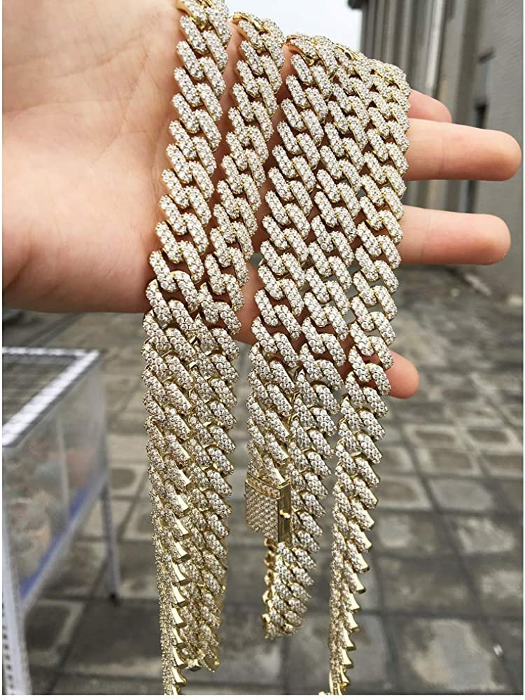 GOLD IDEA JEWELRY Hip Hop Heavy 14k Gold Plated//White Gold Plated Full Iced Out Miami Cuban Link Chain Necklace or Bracelet 12MM