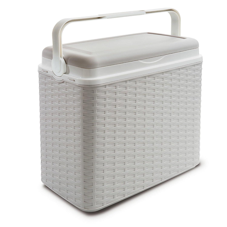 Tama/ño grande 24/litros caja de rat/án Cooler Camping Playa Picnic de almuerzo t/érmica porta alimentos Cooler Box pl/ástico 2 Ice Packs beige
