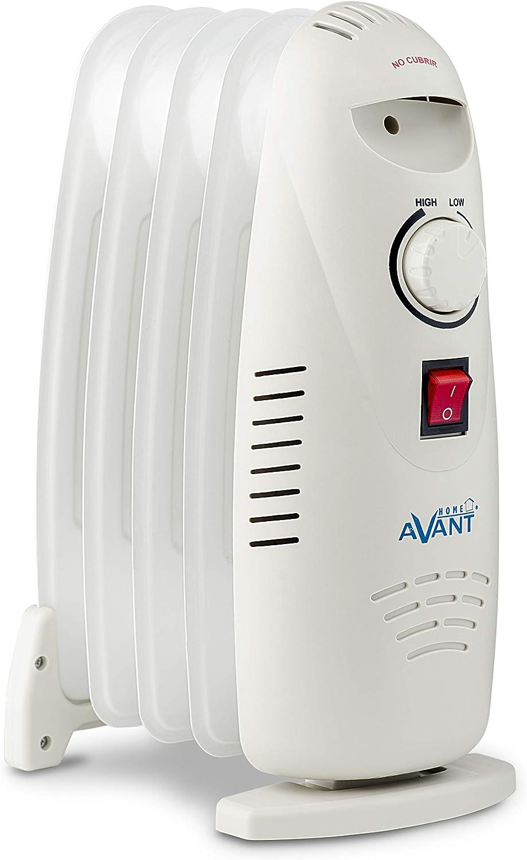 AVANT AV7567 - Radiador De Aceite para Baño con 5 Elementos Radiantes 500w. Construcción Modular, Termostato Regulable, Termofusible De Seguridad, Piloto Luminoso Encendido. Color Blanco