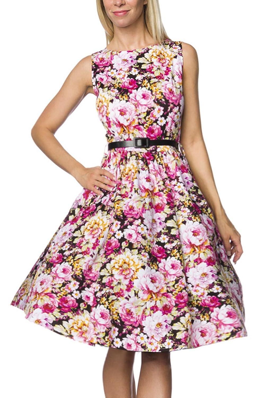 Geblümtes Rockabilly retro Kleid mit Gürtel Damen vintage Sommerkleid knielang