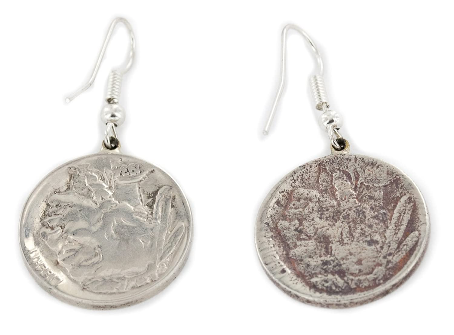 $150 Retail Tag VINTAGE OLD Rusted Buffalo Nickel Coin Authentic Made By Ben T. Riggs Navajo Silver Dangle Earrings