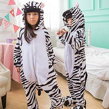 Otoño E Invierno Franela Espesar Cute Zebra Parenting Animal de Dibujos Animados Pijamas Siameses Niño Wc