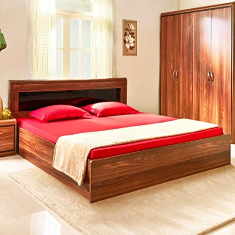 HomeTown Archer Engineered Wood Box Storage Queen Size Bed in Walnut Colour Beds