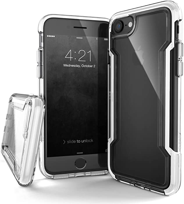 Raptic Clear, (Formerly Defense Clear) - Compatible with Apple iPhone SE/8/7, Defense Clear - Military Grade Drop Protection, Clear Protective Case for iPhone SE/8/7 (White)