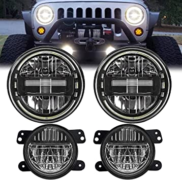 Black 7 Inch Led Headlights DOT Approved Jeep Headlight with DRL Low Beam and High Beam for Jeep Wrangler JK LJ CJ TJ 1997-2018 Headlamps Hummer H1 H2-2019 Exclusive Patent