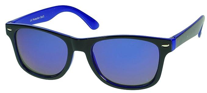 Immerschön Kinder-Sonnenbrille - cooles Wayfarer-Design schwarz-dunkelblau blau verspiegelt - die Sonne kann kommen 8pkNC2g5uv