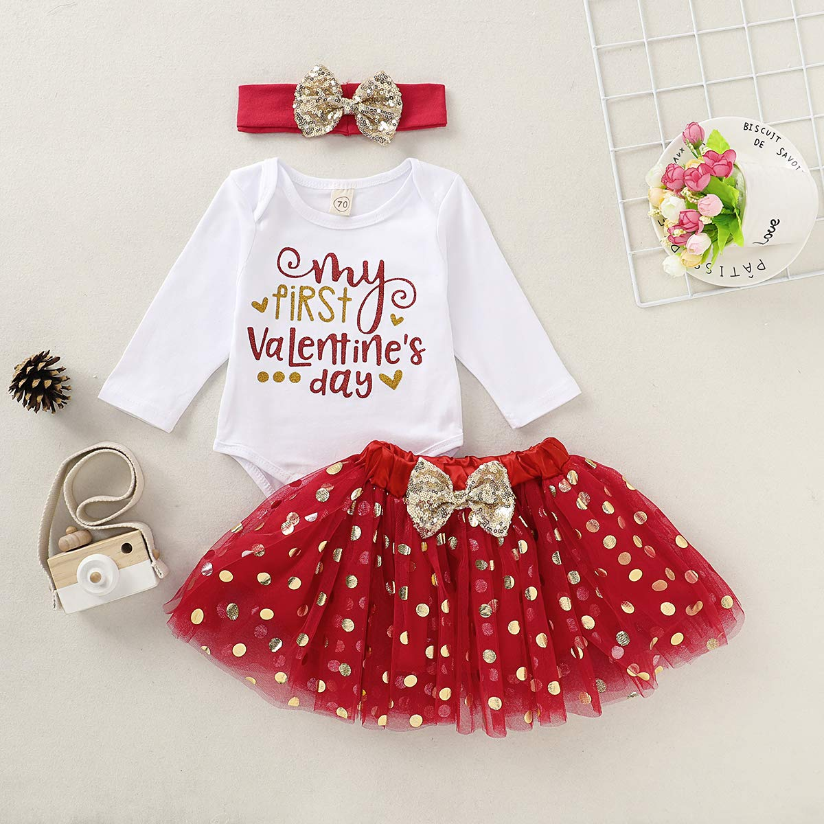 Red Tutu Skirt Set Bows Headband 3pcs Infant Set Newborn Baby Girl Clothes My First Valentines Day Outfits Romper