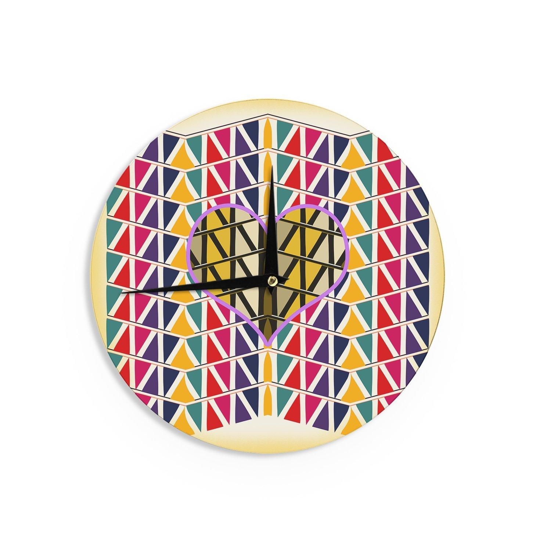 Kess InHouse Famenxt Heart Pattern Geometric Abstract Wall Clock 12
