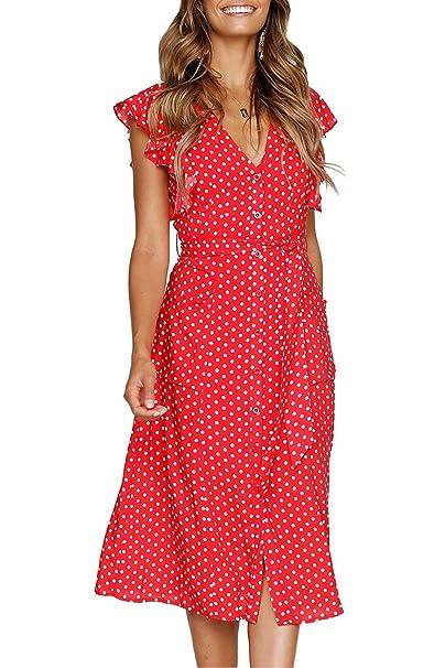 7ac5389326be Women's Summer Dresses Boho Polka Dot Sleeveless V Neck Swing Midi Dress  with Pockets (Red, X-Large) at Amazon Women's Clothing store: