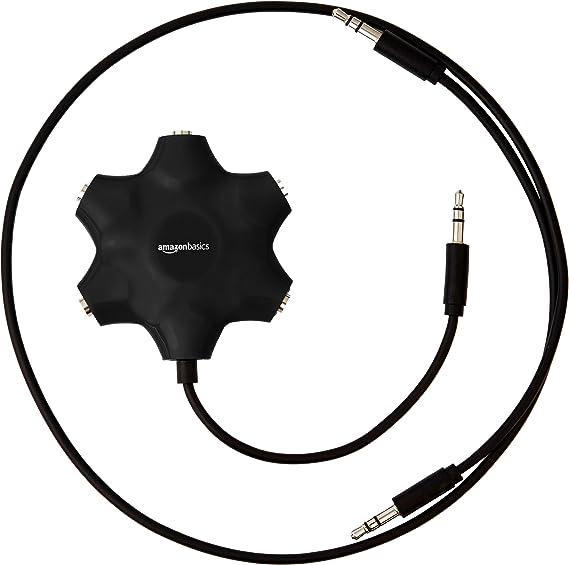 Amazon Basics 5 Wege Aux Audio Splitter Für Kopfhörer Schwarz