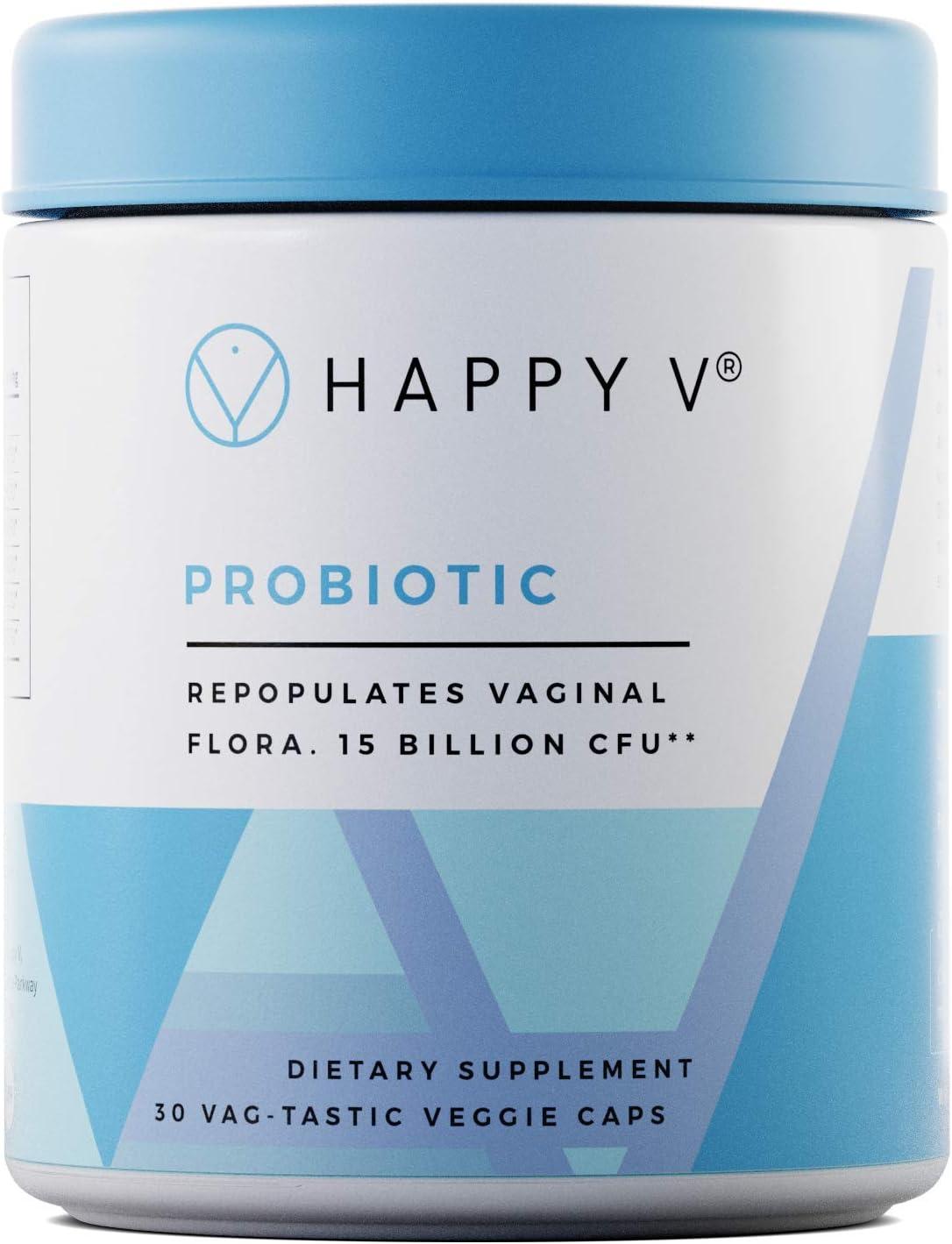 Happy V Probiotic - Patented Profem Lactobacillus Acidophilus Capsules for Women - 15 Billion CFU for Bacterial Vaginosis - Compatible with Cranberry and Prebiotic Pills - Restore Vaginal Balance