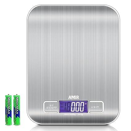 AMIR Básculas de cocina, Digital Báscula con pantalla LCD para Cocina de Acero Inoxidable, 5kg/1lbs, Balanza de Alimentos Multifuncional con 6 ...