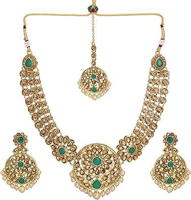 Gold and black pearl choker necklace jhumka earrings and tikka set Indian bridal pakistani jewelry