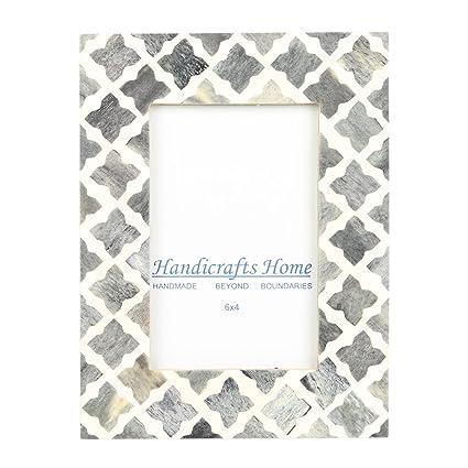 Amazon Com Handicrafts Home 4x6 Photo Frame Grey White Bone Mosaic