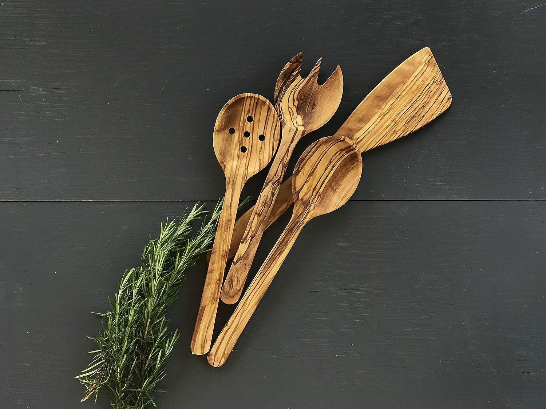 utensilios de servir, tenedor de ensalada esp/átula cubiertos hechos a mano cuchara con agujeros Juego de madera de olivo juego de porciones de ensalada de madera