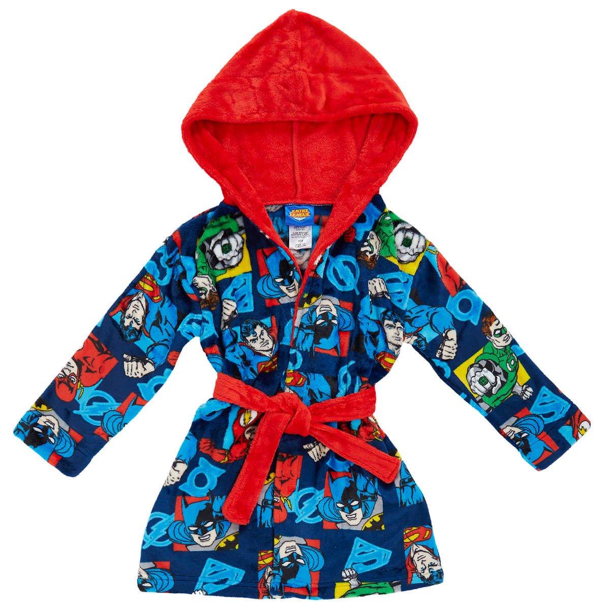 Superhero Toddler Boys' Velvet Fleece Hooded Robe Pajama 6 Justice League