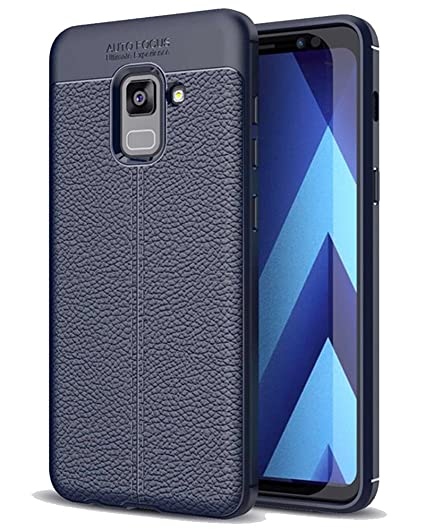 best cheap 47444 af9da Golden Sand Compatible with Samsung A8+ Plus Back Cover Premium Leather  Texture Series, Shockproof Armor TPU Case for Samsung Galaxy A8 Plus, Blue