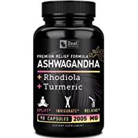 Premium Ashwagandha Complex - Organic Ashwagandha + Rhodiola Rosea + Turmeric - 100% Pure Ashwagandha Extract Capsules to Support Stress and Maximum Strength Adrenal Support