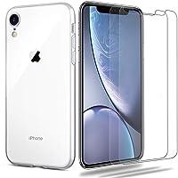 iLiebe etui na iPhone XR + zestaw ze szkła pancernego, [1 etui + 2 szkła pancernego] etui ochronne folia szkło TPU…
