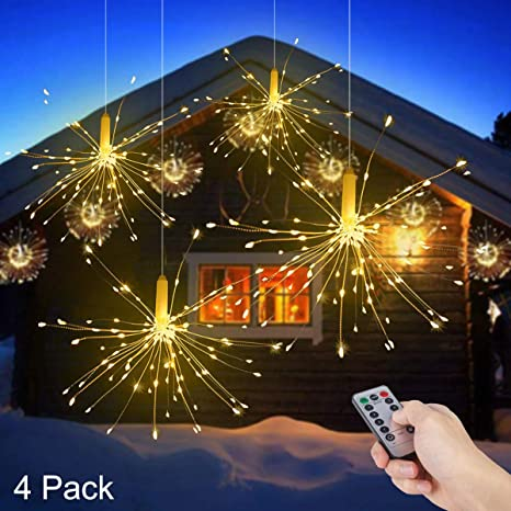 Luces Fuegos Artificiales, ALED LIGHT 4 Pack Blanco Cálido Cadena de Luces de Alambre de Cobre Impermeables LED Luces de Hadas a Pilas 8 Modos Decorativo Luces Navidad Exterior Decoracion para Fiesta: