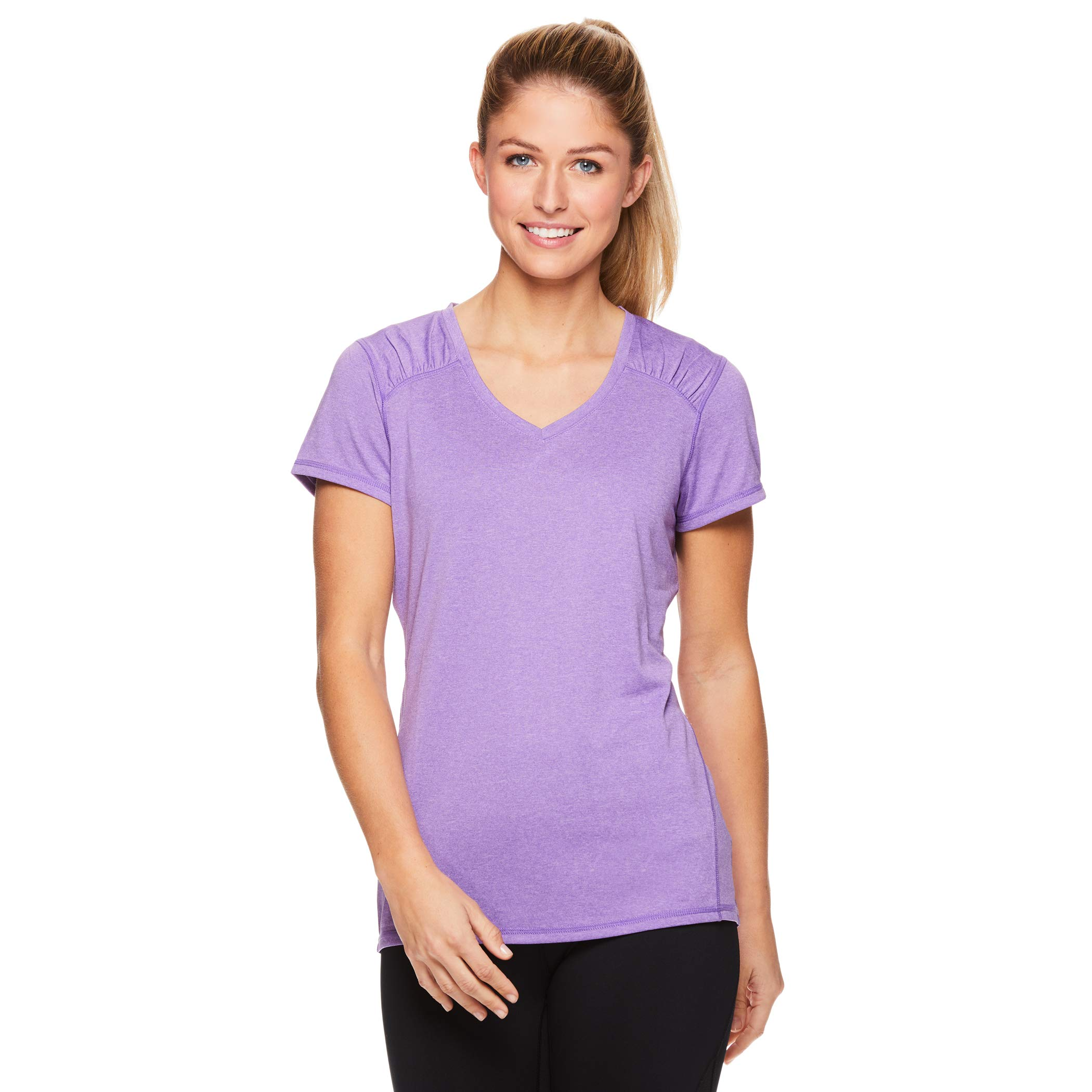HEAD Women's Perfect Match Short Sleeve Workout T-Shirt - Performance V-Neck Activewear Top - Chive Blossom Heather, Small