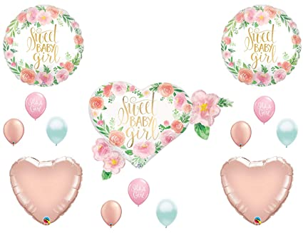 Amazon.com  Sweet Baby Girl Floral Shower Balloons Boho Rose Gold Tribal  Shabby Chic  Everything Else dce4ea351487