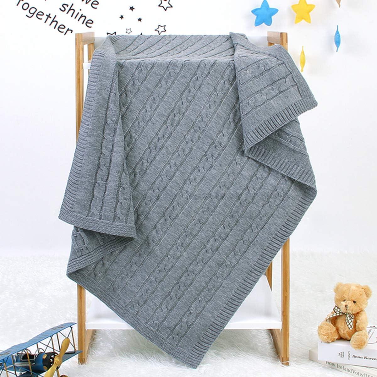 Manta de recepci/ón Infantil para Cuna Yolispa Manta de beb/é Mantas de Punto Unisex para reci/én Nacidos de ni/ño para ni/ñas Cochecito 100 * 80 cm