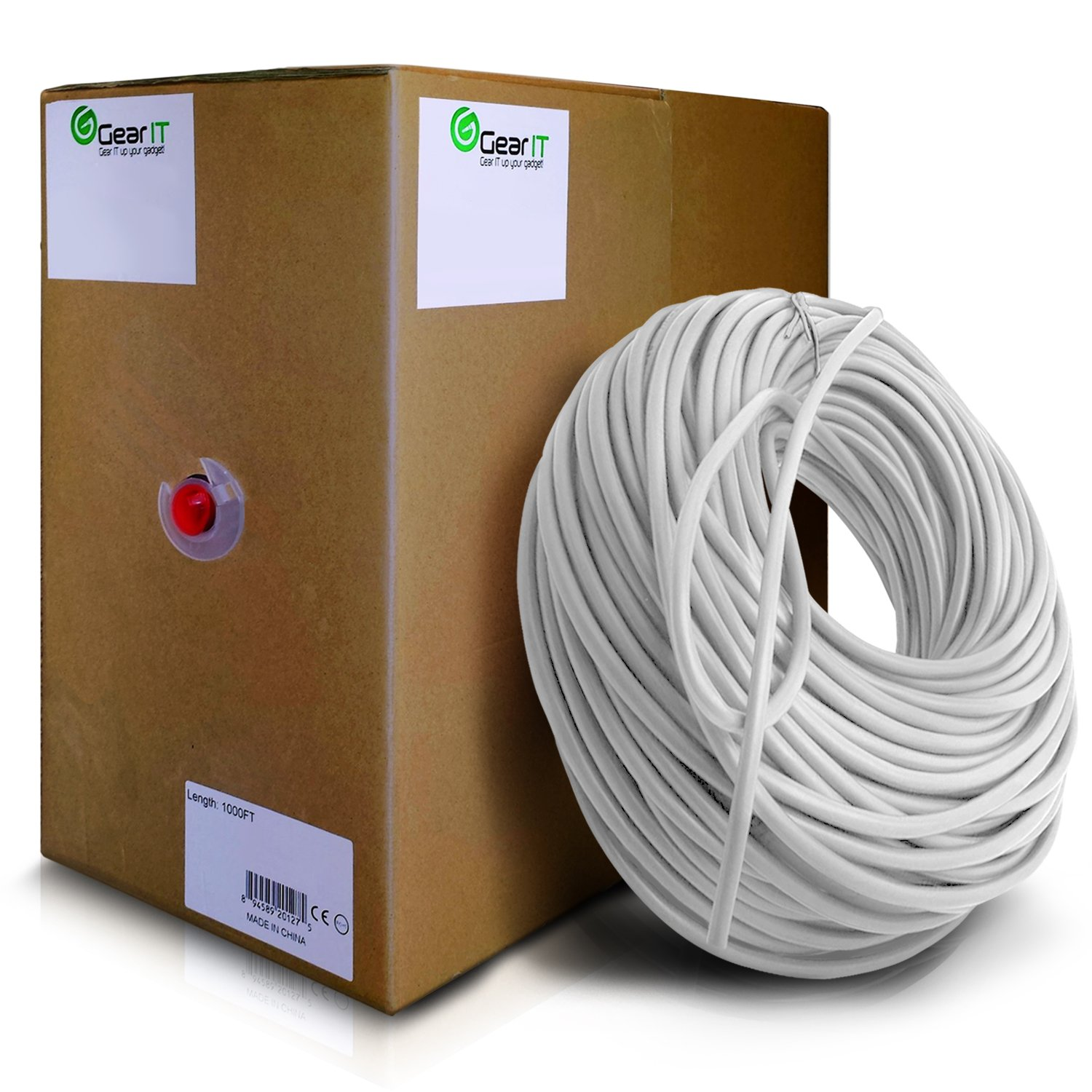 GearIT 1000 Feet Bulk Cat6 Ethernet Cable - Cat 6e 550Mhz 24AWG Full Copper Wire UTP Pull Box - In-Wall Rated (CM) Stranded Cat6, White by Little Trees