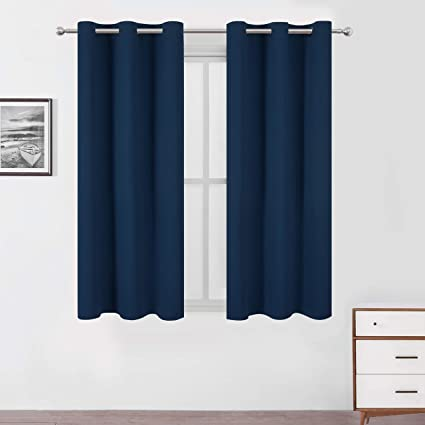 Lemomo Navy Blue Blackout Curtains 42 x 63 Inch Length/Set of 2 Curtain  Panels/Thermal Insulated Room Darkening Blackout Curtains for Bedroom