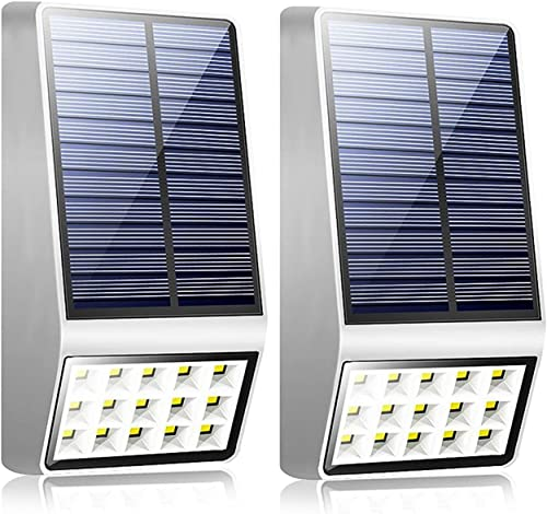 Solar Lights Outdoor,Wireless Motion Sensor Night Lights with 120 Wide Angle IP65 Waterproof,Upgraded Security Outdoor Lighting for Garden Fence Patio Garage Porch Steps Landscape Path White 2 Pack