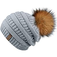 de5ae659696 Winter Real Fur Pom Beanie Hat Warm Oversized Chunky Cable Knit Slouch Beanie  Hats for Women