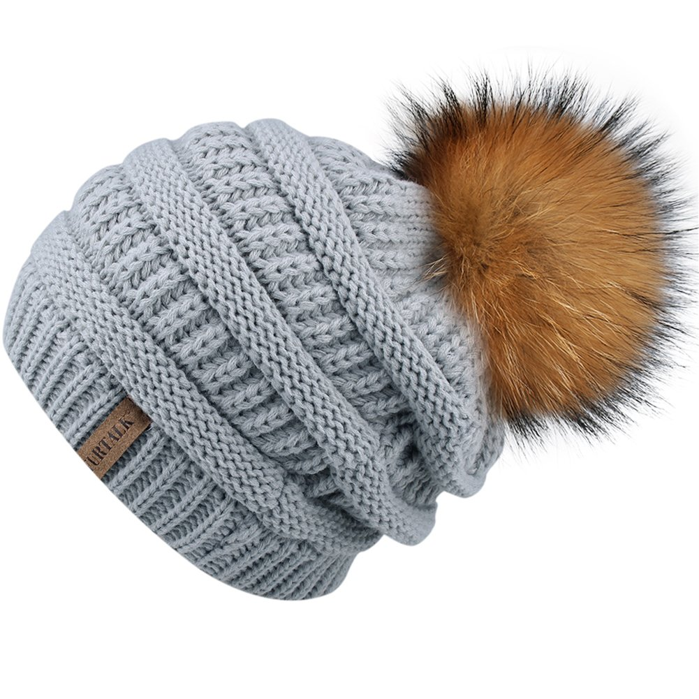 9ef5173d55b2d0 Winter Real Fur Pom Beanie Hat Warm Oversized Chunky Cable Knit Slouch  Beanie Hats for Women