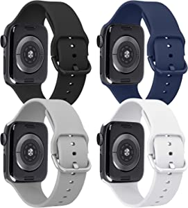 Tobfit 4 Pack Compatible with iWatch Bands 38mm 42mm 40mm 44mm, Soft Sport Replacement Band Compatible with iWatch Series 6 5 4 3 SE (Black/Gray/White/Navy Blue, 42mm/44mm S/M)