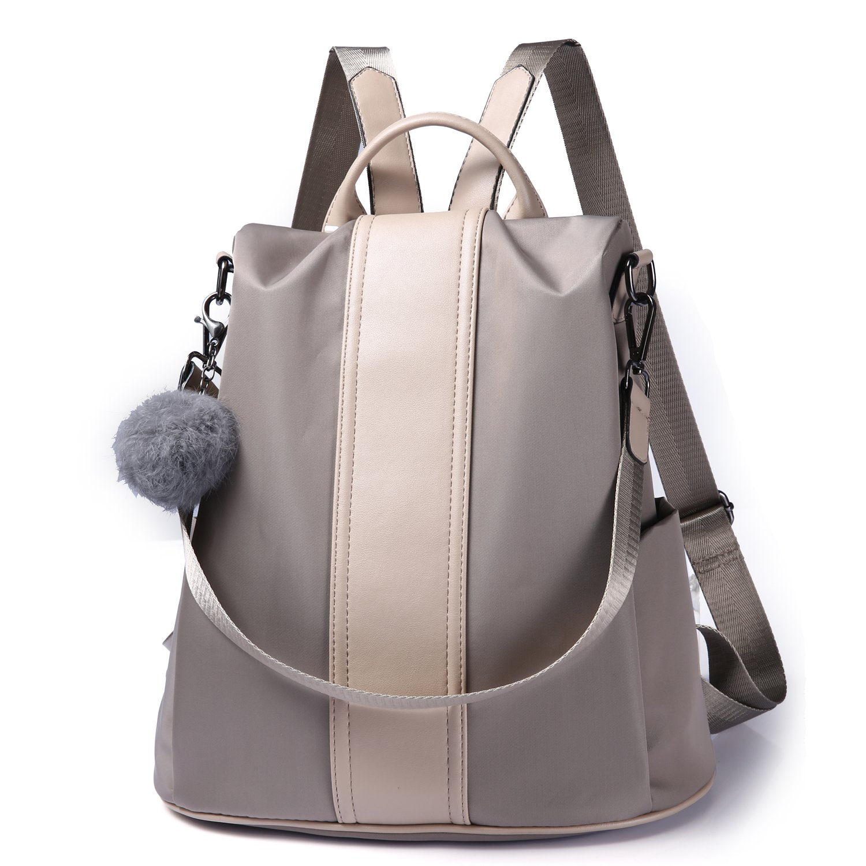 Women Backpack Purse Waterproof Nylon Anti-theft Rucksack Lightweight School Shoulder Bag (Khaki)