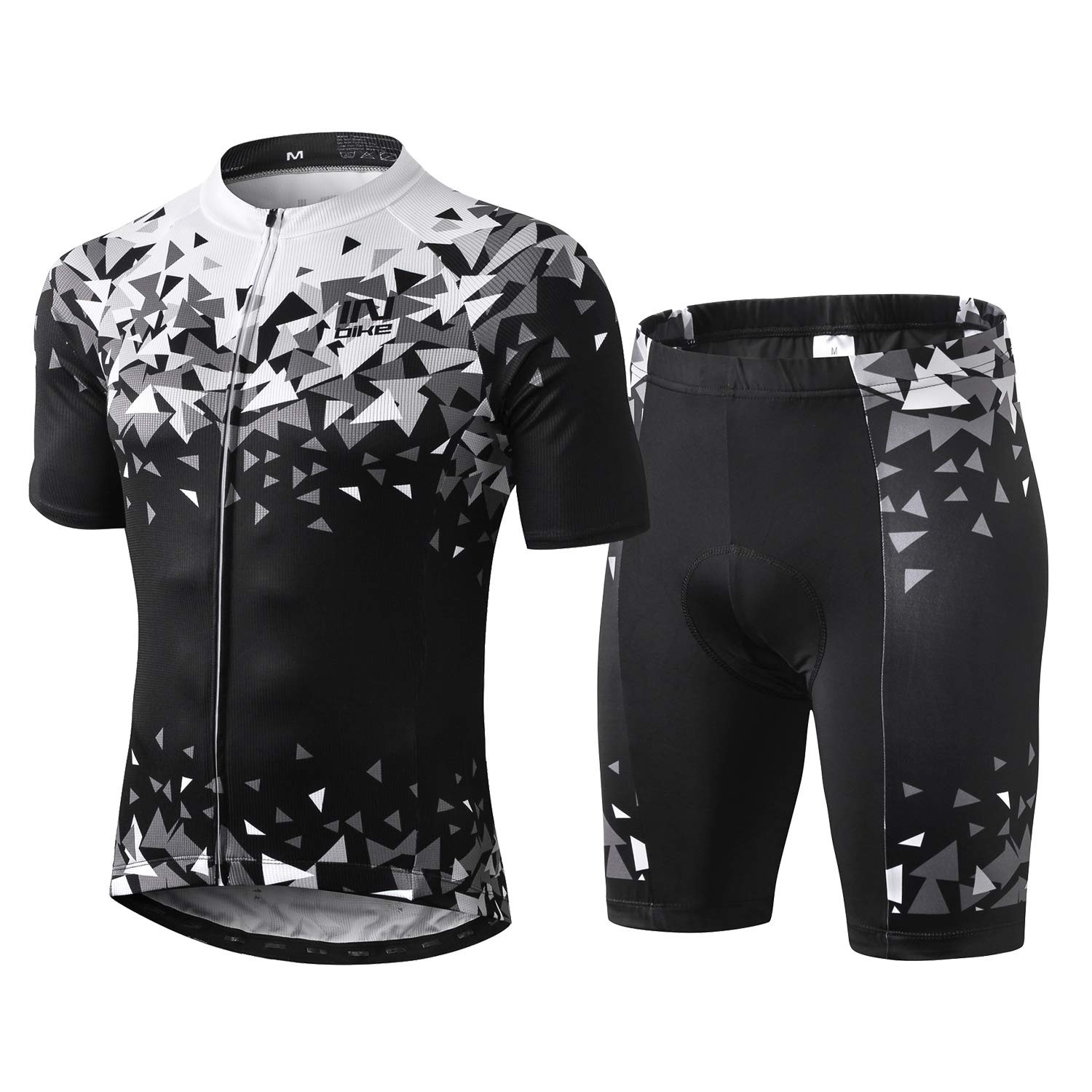 INBIKE Men Cycling Jersey Set Short Sleeve Breathable Bike Shirt with Padded Shorts G05 2XL (Large) by INBIKE