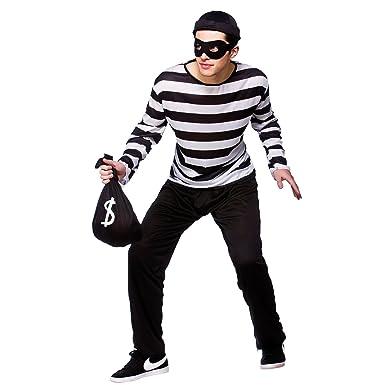 Bank Robber Halloween Costume   Comedy Fancy Dress Mens Burglar Convict Bank Theif Robber Halloween