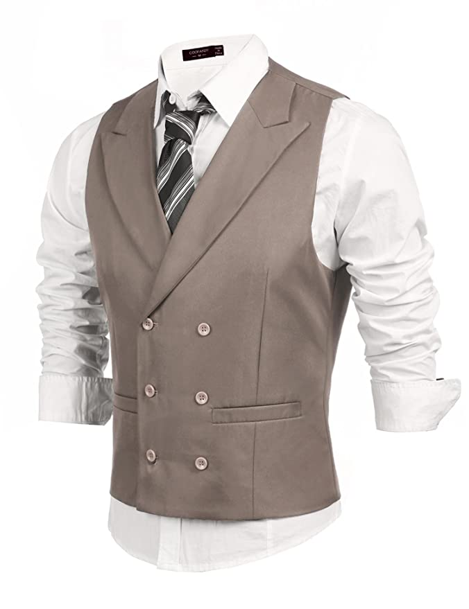 1920s Style Mens Vests Edited Mens Casual Suit Vest Solid Double Breasted Slim Fit Business Dress Waistcoat $14.99 AT vintagedancer.com