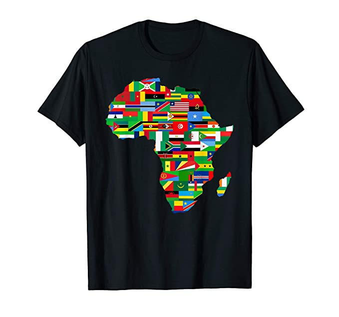 Flag Map Of Africa.Amazon Com Africa Countries Flag Map Shirt African American Party