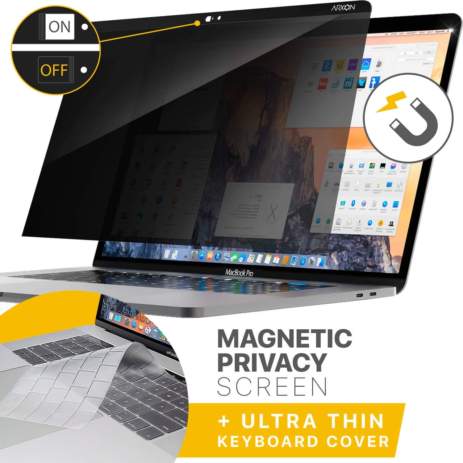 Arxon MacBook Pro Magnetic Privacy Filter Screen Protector 15 Inch 2016/2017/2018 MacBook Pro Anti Glare Easy on/Off with Webcam Cover