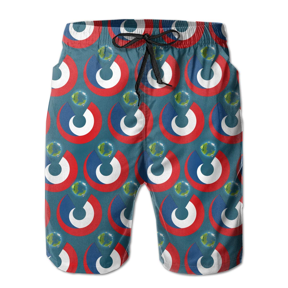 Mens Swim Trunks Czech Republic Flag Eat The Earth Quick Dry Beach Board Shorts with Mesh Lining