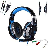 AFUNTA G2000 Stereo Auriculares para Juegos para PS4 PC con micrófono, audífonos superpuestos para bajo con Control de Volumen y Luces LED para computadora portátil Smartphones-Azul