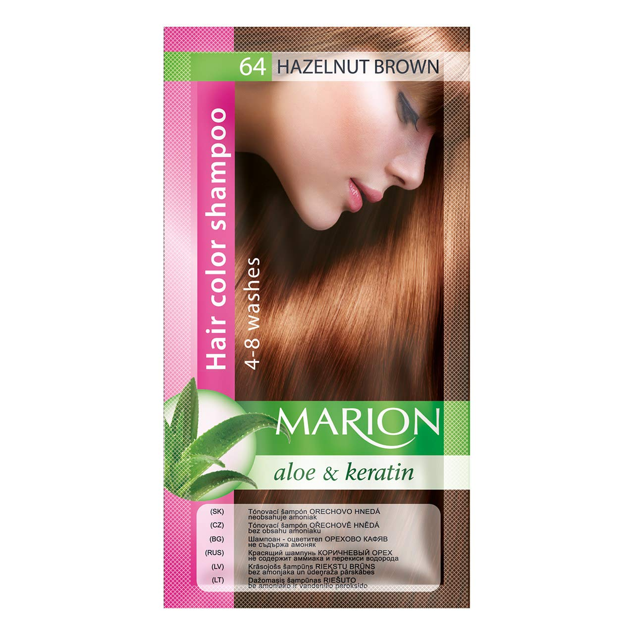 Marion Hair Color Shampoo in Sachet Lasting 4-8 Washes - 64 - Brown Nuts