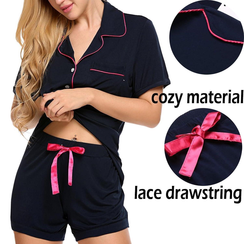 Adidome Women's Cotton Sleepwear Short Sleeve with Shorts Pajama Set S-XXL