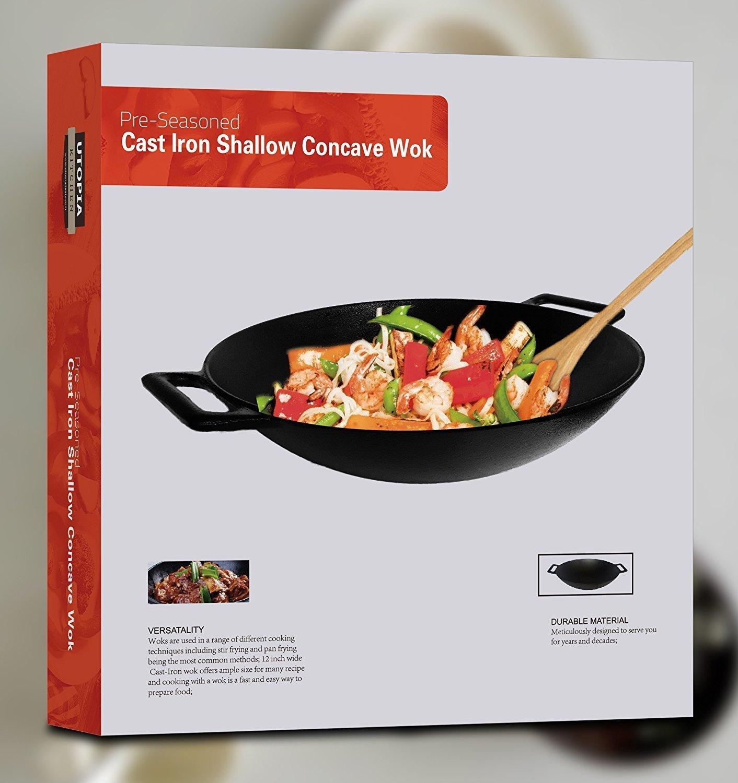 New Cast Iron Shallow Concave Wok Black Asian Stir Fry Cookware w Wide Handles