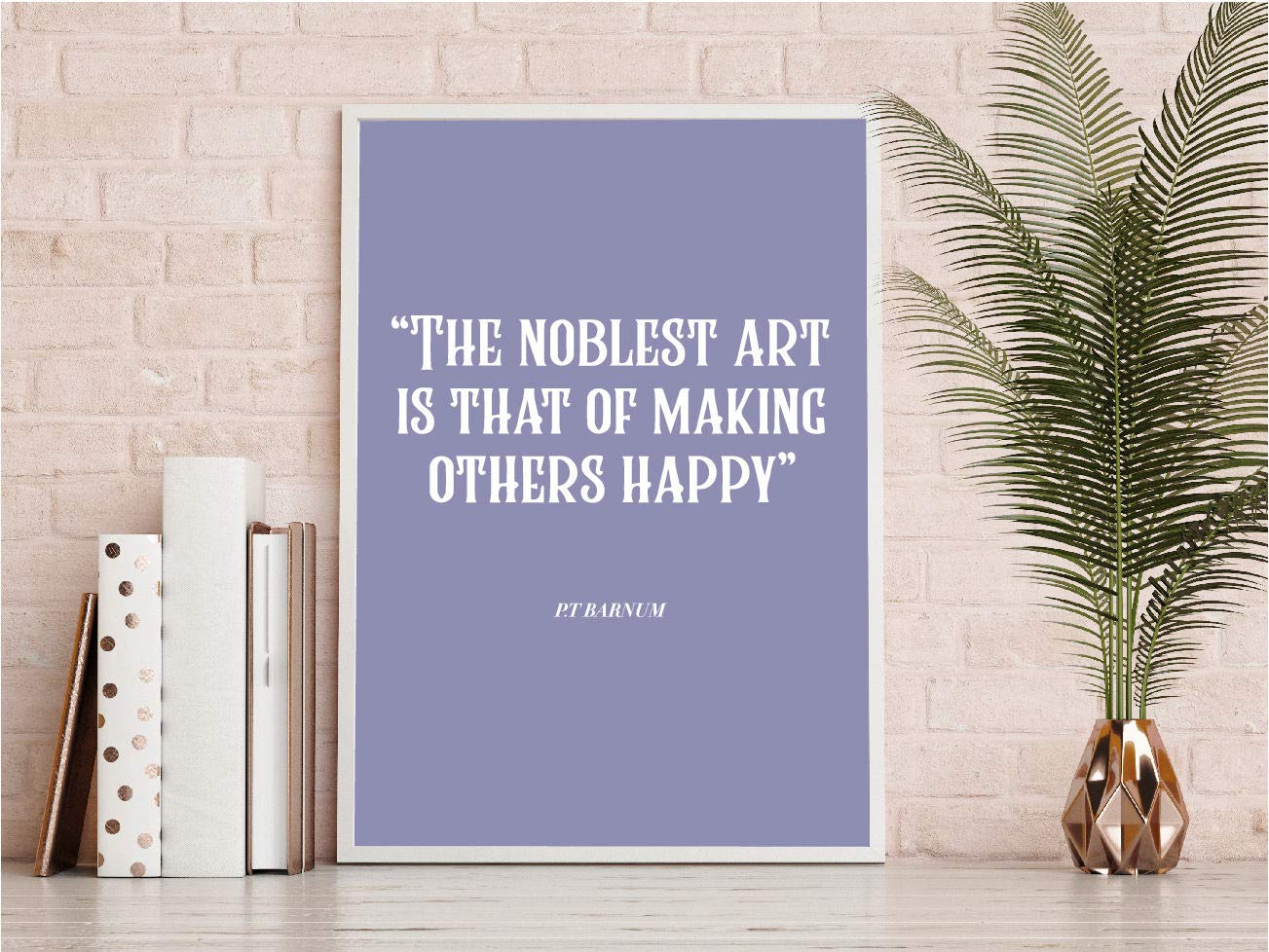 MalertaART The noblest art making others happy Quote Print Wall Art typography hand drawn quote violet the greatest showman PT Barnum Framed Wall Art