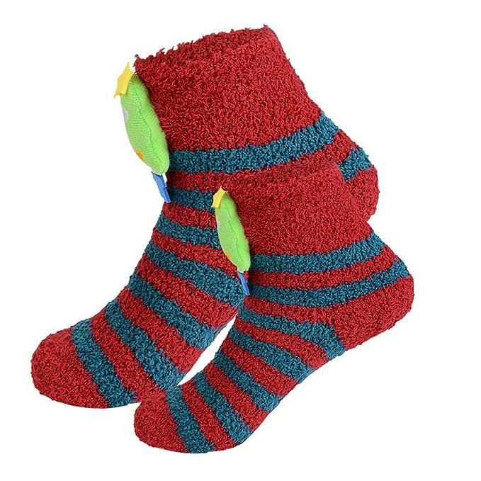 laamei 2 Pares Calcetines de Invierno, Calcetín de Navidad con Dibujos Animados Calcetines Térmicos Navideños