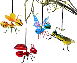 PUENUO 4Pcs Metal Graden Yard Art Hanging Decoration Set Include Yellow Bee Blue Butterflies Red Ladybug and Green Mantis Perfect The Tree, Porch,Patio or Garden Hanging Wall Sculpture