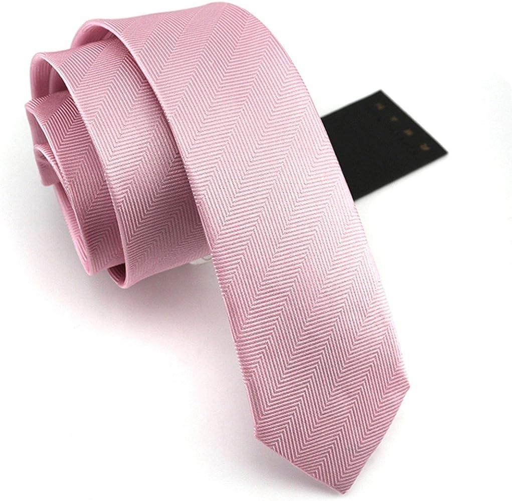 HXCMAN 6cm rosa estrecha corbata 100% seda en caja de regalo ...