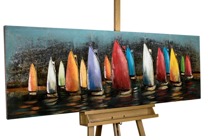 Extravagantes KunstLoft® Metallbild 3D 'Speedy Boats' 150x50x5,5cm | Design Wanddeko XXL handgefertigt | Unikat Luxus Wandskulptur | Segelboote Boote Segeln Meer Wasser Sport | Wandbild Relief modern