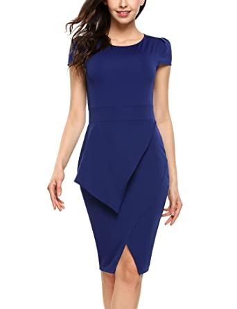 2608eab698c9cf ACEVOG Damen Elegant Etuikleid Business Bleistiftkleid Knielang Kleid  Casual Kurzarm Abendkleid mit Schlitz  Amazon.de  Bekleidung